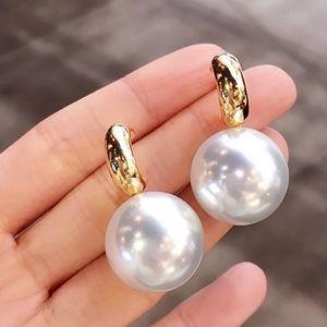 Trendy Big Pearl Gold Tone Earrings